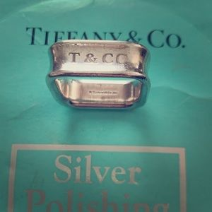 Silver square Tiffany & Co ring - size 8